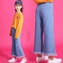 (마미누리) 아동 주니어의류 여아데님통바지 청팬츠 초등학생2046